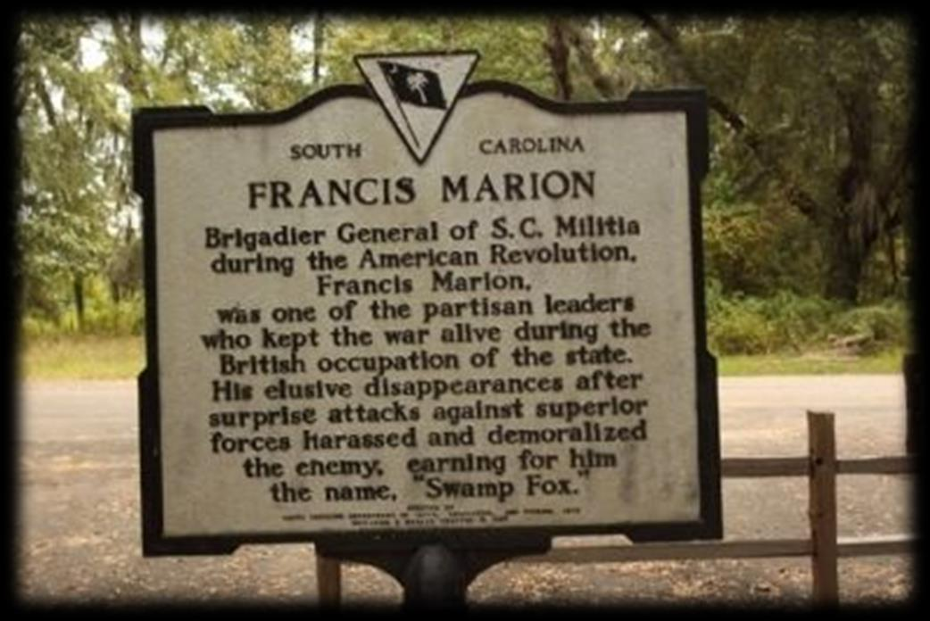 When the Revolutionary War started, Francis Marion became an officer in the Second South Carolina Regiment. Marion led a group of irregular fighters through the backlands of South Carolina.