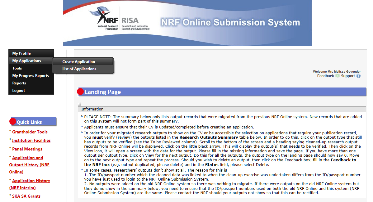 Step 2: On logging onto the NRF Online Submission System, one gets to the landing page where there is a menu at the top left side of the screen (tab indicated with blue arrow below).