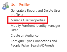 On the User Profiles page, in the
