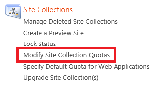 3. On the Site Report page, find the site collection you want to modify by using either the Web Application menu or the URL Search box.