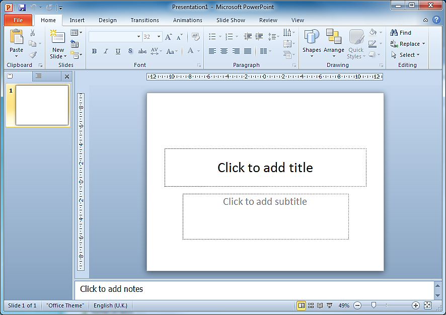 POWERPOINT 2010 CREATING POWERPOINT SHOWS You can create a presentation in PowerPoint in two different ways, by using a template or starting with a blank presentation.