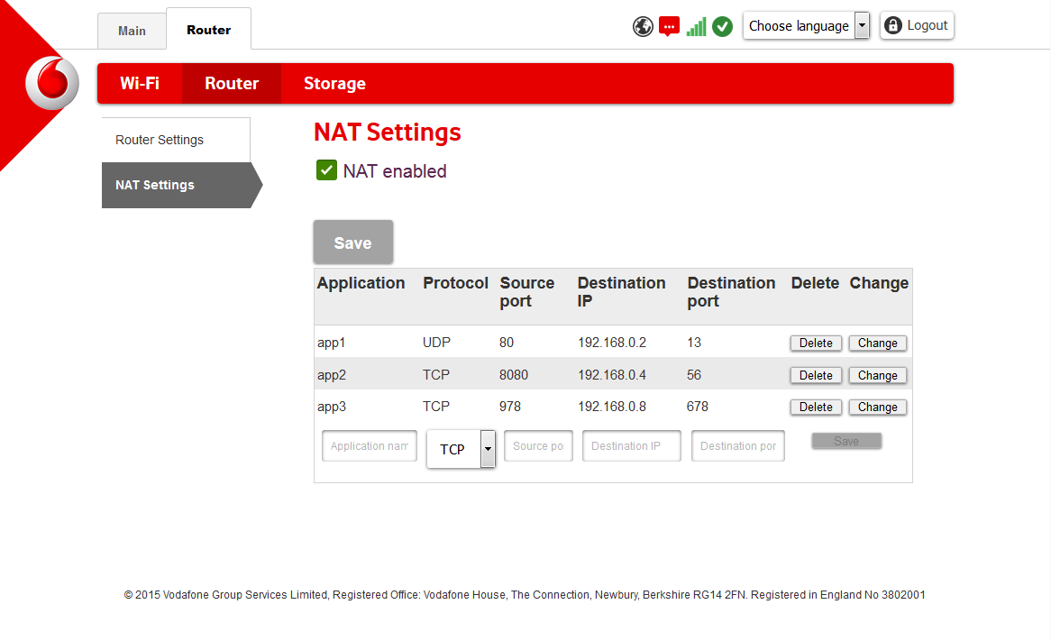 8.2 NAT Settings Enable Network Address Translation, NAT, to set your Vodafone Mobile Wi-Fi Router to allow network access for specific applications.
