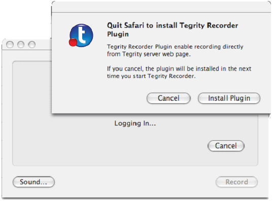 7. If the Tegrity Recorder Plugin is not installed on the computer and not all browsers were closed, click Install Plugin (shown in the following figure) to install the Plugin.