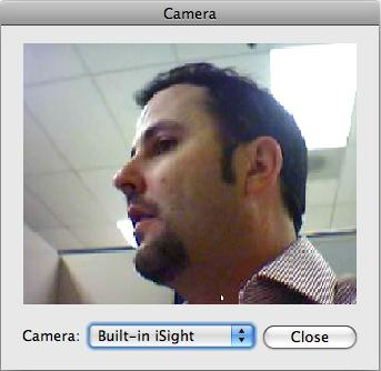 Figure 37: Camera Dialog (Mac) 7. Select the camera you would like to use as the instructor video and click Close.