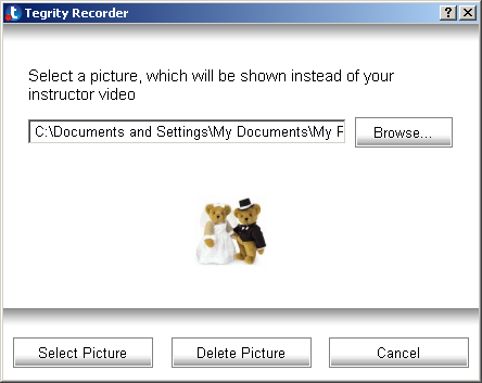 Figure 50: Select Picture Dialog Box 3. Browse to the picture you want to display. 4. Click Select Picture. The picture appears in the Tegrity Recorder window.