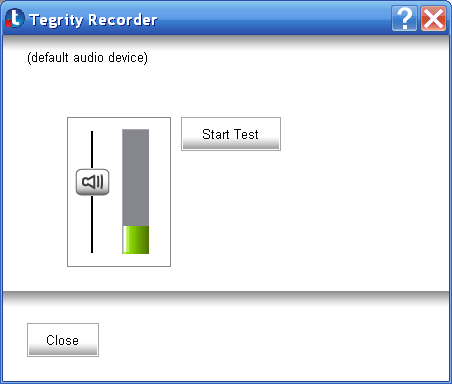 Testing Your Audio and Video Capabilities The Tegrity recorder enables you to test audio quality without video or to test audio and video quality together.