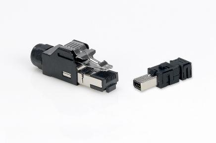 Industrial Mini I/O Smaller than RJ45 Size advantage With only one quarter the size of conventional RJ45 plugs, the Industrial Mini I/O connector