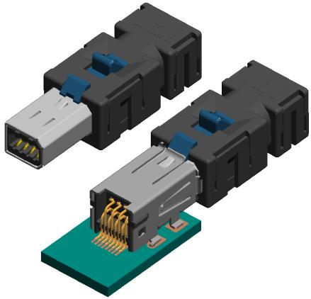 Industrial Mini I/O More reliable than RJ45 Lock ejector Accidental unplugging of a network connection due to shock, vibration, pulling on cords, etc.