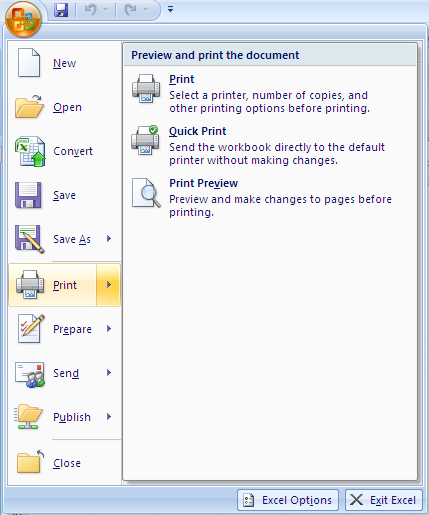 PRINTING IN EXCEL 2007 Users of Excel 2003 will be familiar with a Print icon being displayed in the toolbar at the top of the screen.