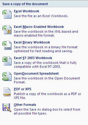 THE OFFICE BUTTON Situated in the top left hand corner of the screen in Excel 2007, the Office Button is used where the File Menu was used in Excel 2003, but there are additional functions that can