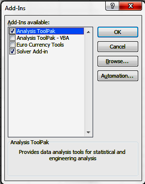 Data menu Histogram If Data Analysis (or Solver) does not appear, select File and choose Options, select