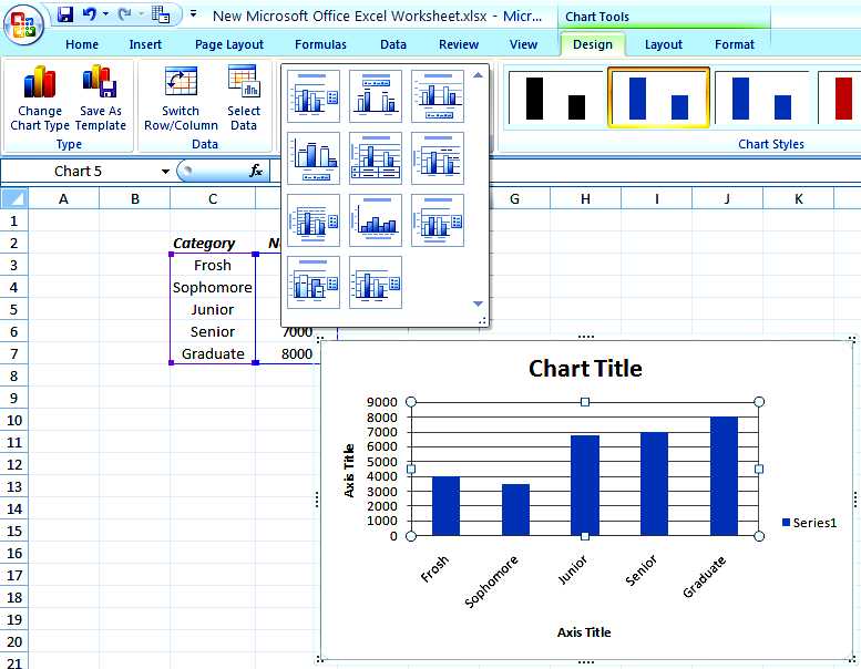 Column Chart - Example Chart Layout options Select the option with
