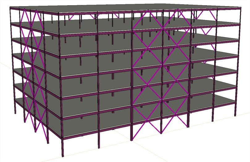 MODEL BUILDINGS Figure 2: Isometric view of 7-story, 3D BRBF equipped model Rectangular structures with four perimeter braced frames were designed to compare BRBF and CBF solutions.
