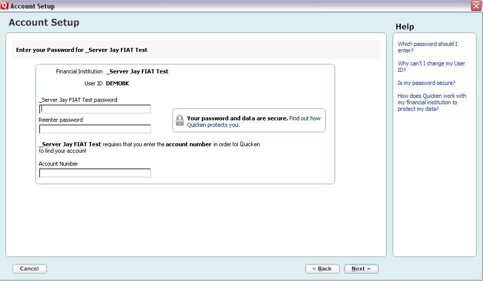 CREATING A NEW QUICKEN ACCOUNT 2009 1. Go to Online drop down Menu Online Account Services Setup Create New Quicken Account. 2. Quicken Windows 2009 version only: Select the account type you are creating Click Next For Money market accounts select either Checking.