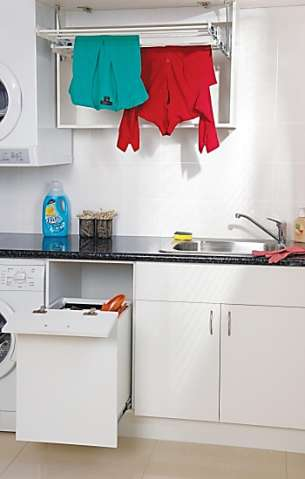 Laundry range Purpose built storage solution Doors included in cabinet packs Features a