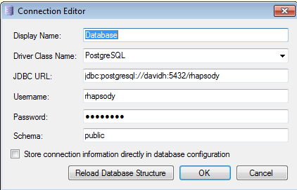 Defining the Connection Details Driver Class: the driver specific name required for the driver JDBC connection
