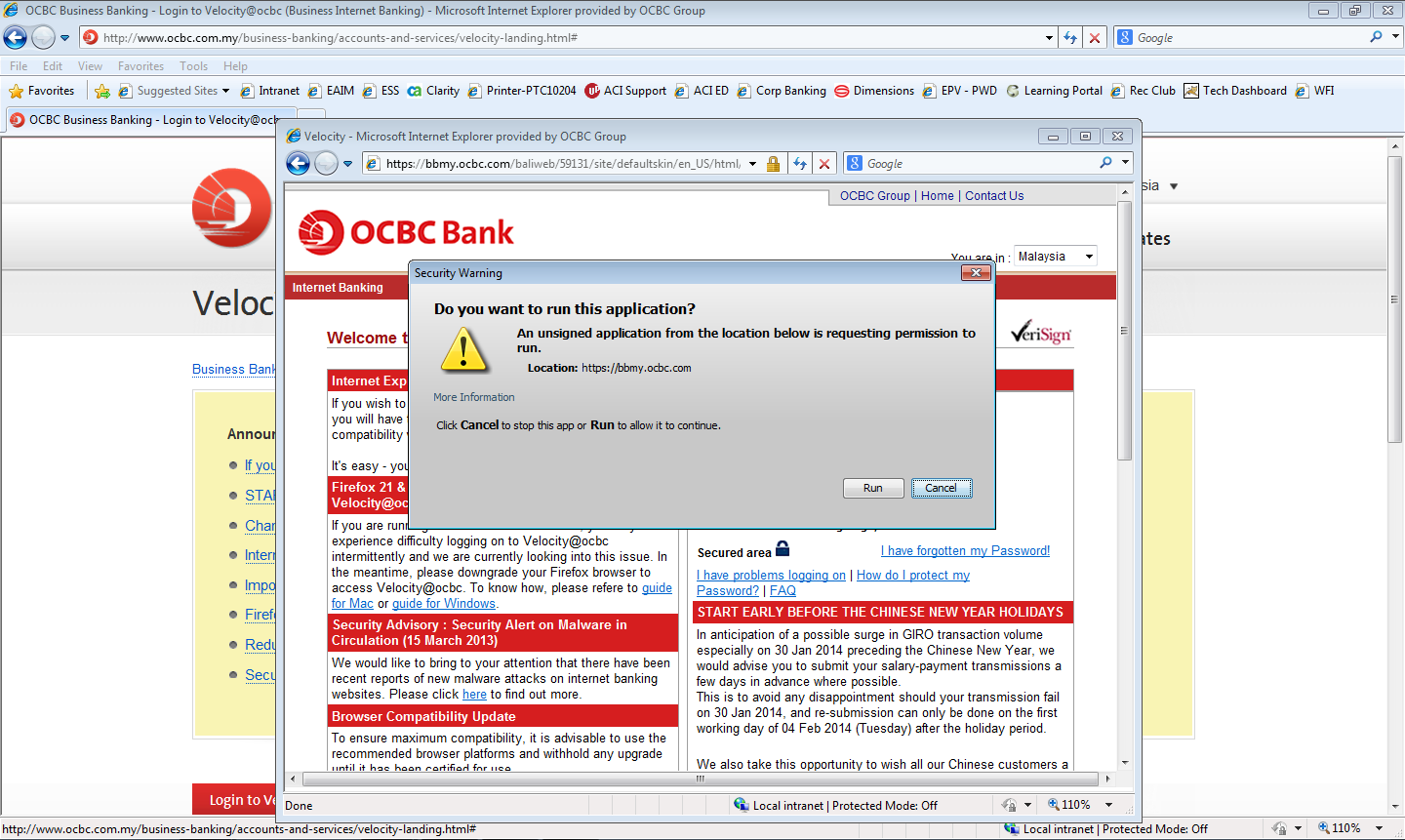 Login using Internet Explorer 1. Launch Internet Explorer and go to bbmy.ocbc.