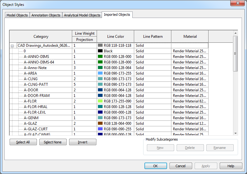 Referencing Data into Revit Controlling the appearance of Linked Data The appearance of imported or linked data is managed using the Imported Objects tab in the Object Styles dialog box.