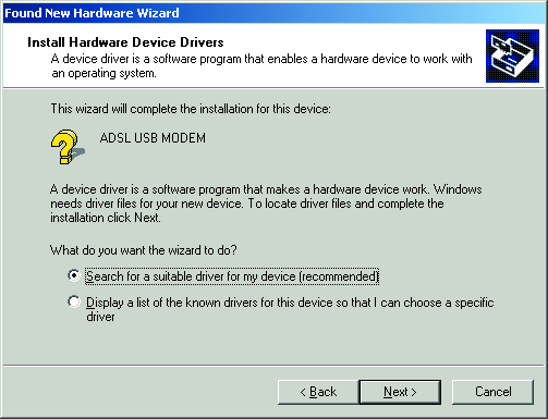 Windows will now search for the driver software.