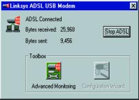 The configuration is modified through the Linksys ADSL USB Adapter Properties screen. You may access this screen one of two ways: 1.