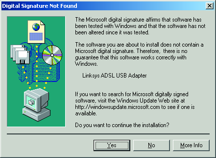7. When Windows will ask you to search for a digital signature, click OK to finish your installation.