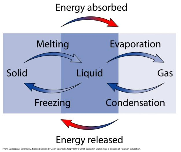 Enthalpies of change of state Conversion of a substance from one state to another involves heat input or output Heat is absorbed when breaking bonds Solid