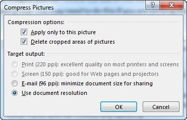 With a tif image, on the other hand, you can choose any option. The Use document resolution option will compress the image to the resolution set through Word Options.