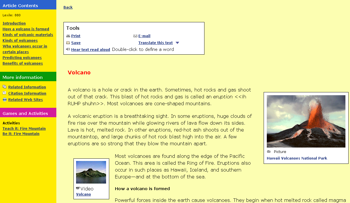 Kids Article If we click on the first option, it opens the Volcano article. The article itself is easy to read.
