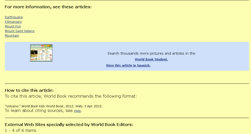 At the bottom of the article, World Book Kids suggests other articles, other trusted websites, shows how to cite the article, and with one click you can view the article in the Spanish