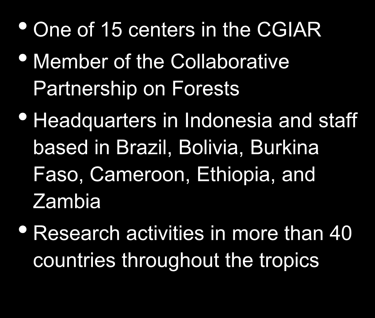 Indonesia and staff based in Brazil, Bolivia, Burkina Faso, Cameroon,
