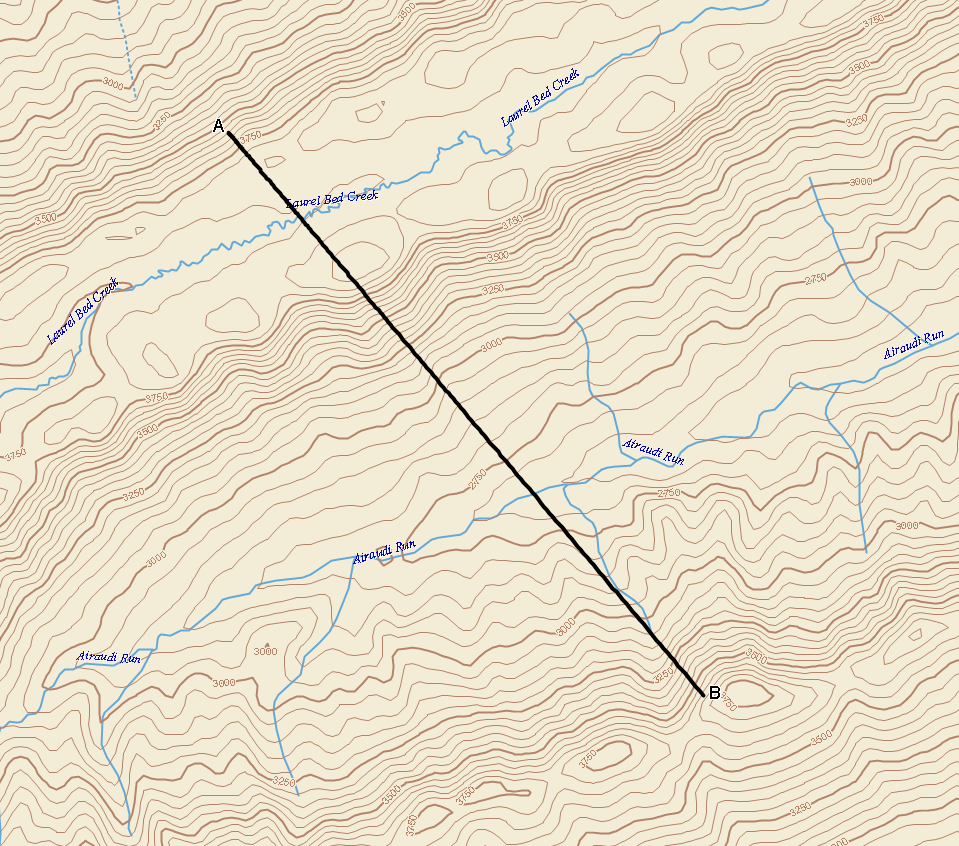 Station 3 Here is a topographic map. 16. The topographic profile from A to B is crossing what land feature? 17. The highest elevation on profile A to B is what? 18.