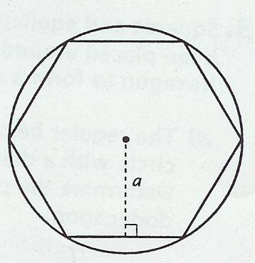 Calculate the area of each regular polygon using the measurements given: a] an regular octagon with sides measuring10 mm & an apothem of 12.