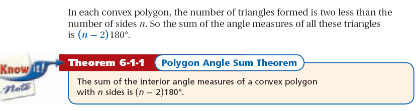 Sum of Interior Angles in Polygons Example 1: Calculating the Sum of Interior Angles Find the sum