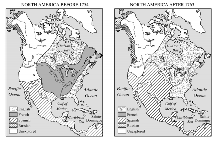Document 1 Source: Contemporary map of colonial power in North America at the onset and conclusion of the French and Indian War.