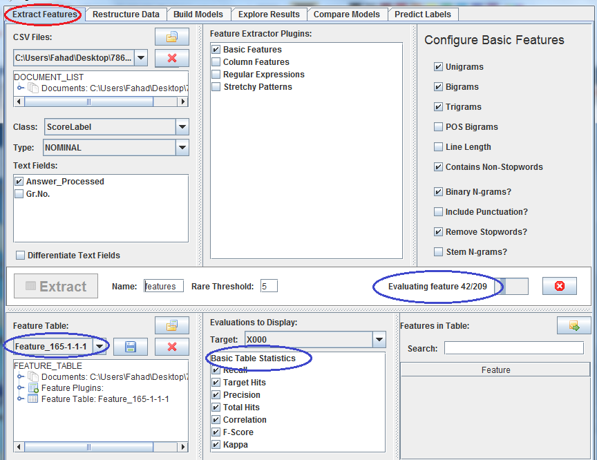 chosen using the Configure Basic Feature option. The Class and Text Field options are used to flag appropriate columns within the CSV file (i.e., the training dataset).