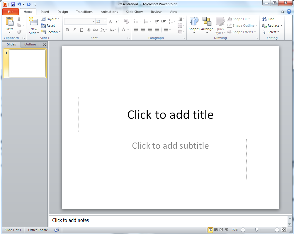 The PowerPoint Window Menu bar Ribbon bar Slide preview Slides layout pane Presentation notes Creating