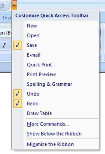 Quick Access Toolbar Directly to the right of the Office Button you will find the Quick Access Toolbar and as its name implies contains shortcuts to some frequently used functions.