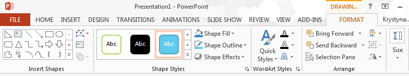 Contextual Tabs Contextual tabs only appear when you select particular PowerPoint elements, thereby making further appropriate commands available only when they are required.