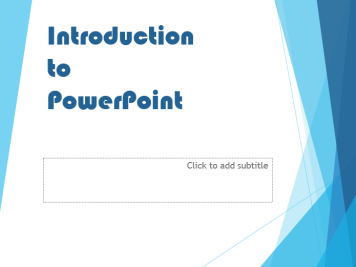 Working with the Title Slide Whenever you start PowerPoint or create a new presentation you will be provided with one starting slide which by default will have the Title Slide layout.