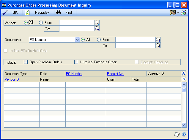 PART 5 INQUIRIES AND REPORTS Viewing purchasing documents Use the Purchase Order Processing Document Inquiry window to view information about documents you ve entered in Purchase Order Processing.
