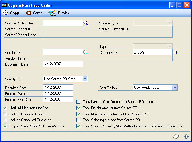 CHAPTER 6 PURCHASE ORDER ENTRY You also can select to print blanket purchase order delivery schedules in the functional or originating currency using the currency list button.