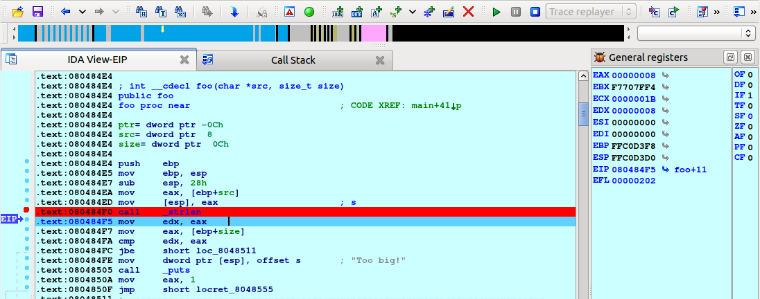 The debugger will stop at the strlen call: In the trace replayer we can use all usual debugging commands like run to cursor (F4), single step (F7), or step over (F8).