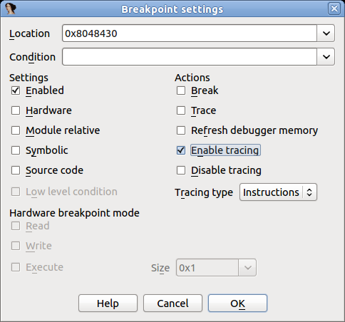 As previously stated, there are two ways to record traces: enabling it manually, or using an Enable tracing breakpoint.