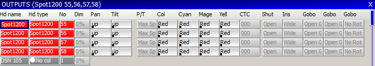 MagicQ User Manual 76 / 342 10.2 Recording Palettes To record a palette entry, select the heads you wish to apply the change to.