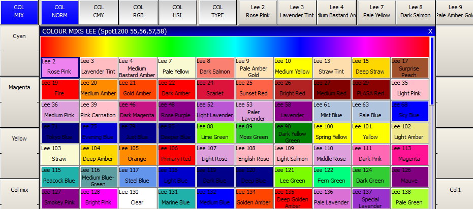 MagicQ User Manual 44 / 342 6.14 Recording a Palette To record a favourite combination of attributes into a palette (e.g. a rotating triangle with a prism on a MAC500), first modify the attributes to the values you wish to record.