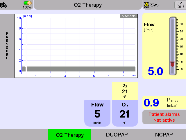 O 2 Therapy O 2 Therapy is an option which allows use of a continous flow of blended gas, from 1 15 LPM. Nasal cannulas of various makes like F&P, Atom or similar can be used.