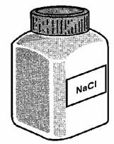 (d) The drawing shows a container of a compound called sodium chloride.