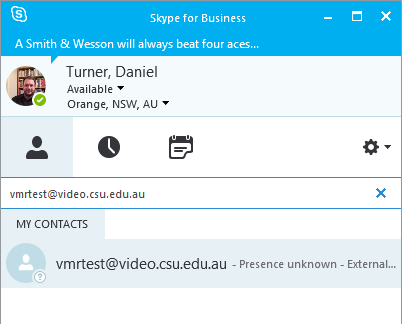 Add a Contact Not in My Organisation, or Display Options Desktop Video Conferencing Skype for Business is the recommended software client for Desktop Video Conferencing on Windows PCs.