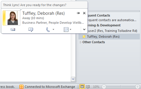 4. Your Lync contact groups and associated contacts will appear at the bottom of the Outlook 'To-Do Bar'.