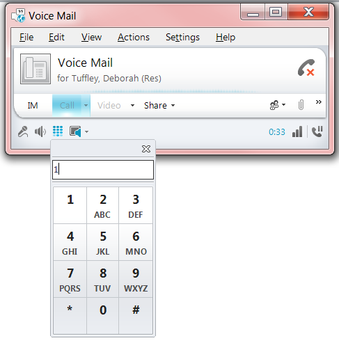 Customise Your Voicemail Greetings 1. From the main Lync window, click the 'Phone' icon 2.
